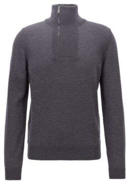 BOSS Hugo Troyer-inspired sweater in merino wool zipper neck XL Open Grey