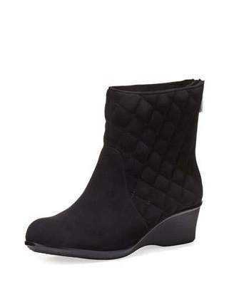 Taryn Rose Andy Quilted Suede Demi-Wedge Bootie, Black $185 thestylecure.com