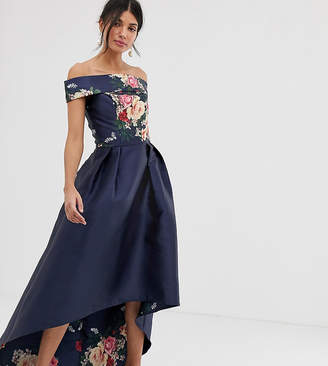 Bardot Chi Chi London Tall neck prom dress with high low hem in navy floral