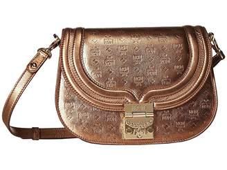 MCM Trisha Monogrammed Leather Shoulder Small