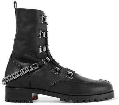 Christian Louboutin - Chain-trimmed Leather Boots - Black