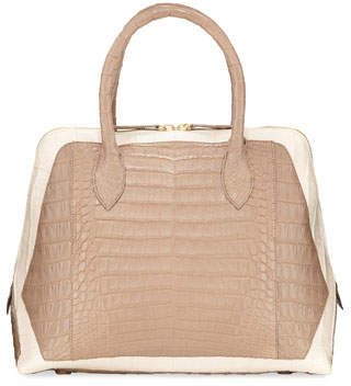 Nancy Gonzalez Medium Dome Two-Tone Crocodile Satchel Bag