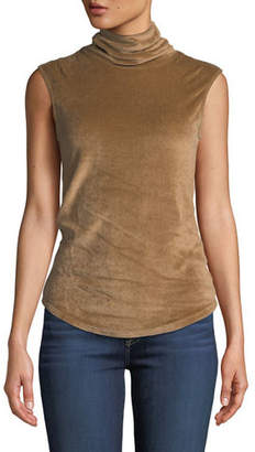 Neiman Marcus Majestic Paris for Sleeveless Velour Turtleneck Top