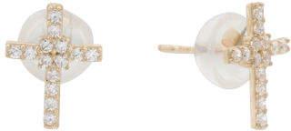 14k Gold Cz Cross Stud Earrings