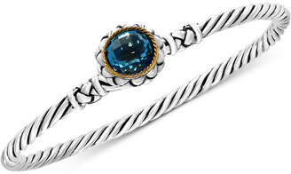 Effy Balissima Blue Topaz Twist Bangle Bracelet (3-5/8 ct. t.w.) in Sterling Silver and 18k Gold
