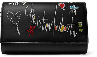 Christian Louboutin Paloma Embellished Leather Clutch - Black