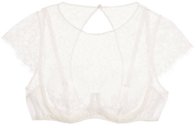 Agent Provocateur Agent Provocateur - Ismerelda Leavers Lace And Silk Underwired Bra - White