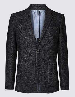 Marks and Spencer Charcoal Herringbone Tailored Fit Jacket
