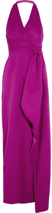 Halston Draped double-faced satin gown