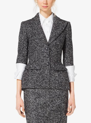 Michael Kors Tweed Wool-Boucle Peplum Jacket