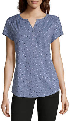 Liz Claiborne Henley Neck Short Sleeve T-Shirt -Womens