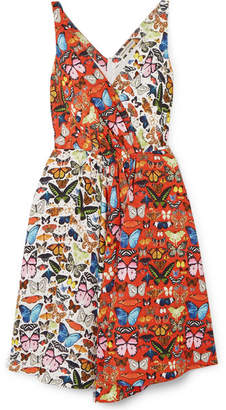 Mary Katrantzou Butterly Flip Wrap-effect Printed Twill Dress - Red