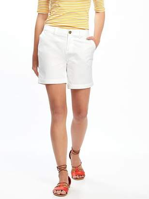 "Relaxed Mid-Rise Twill Shorts for Women (7"") $24.94 thestylecure.com"
