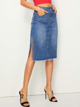 547249a267 Shein Slit Side Raw Hem Denim Skirt