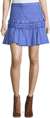 Neiman Marcus Maggie Marilyn Tiered Ruffled Striped Cotton Mini Skirt