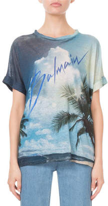 Balmain Short-Sleeve Palm-Tree Print Logo Tee