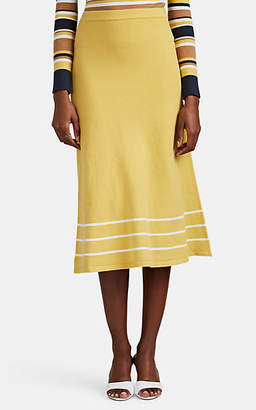 JoosTricot Women's Striped Stretch Cotton-Blend Midi-Skirt - Yellow