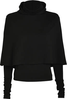 Sara Battaglia Turtleneck Hooded Cape Sweater