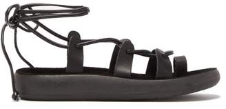 Ancient Greek Sandals Alcyone Wrap Around Leather Sandals - Womens - Black