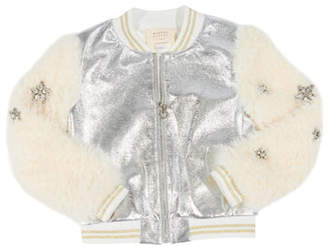 Hannah Banana Metallic Faux Leather Bomber Jacket w/ Faux Fur Sleeves, Size 4-6X