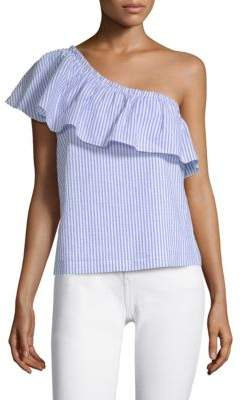 Vineyard Vines Seersucker One-Shoulder Top