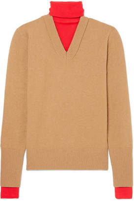 Joseph Layered Two-tone Wool-blend Turtleneck Sweater - Camel