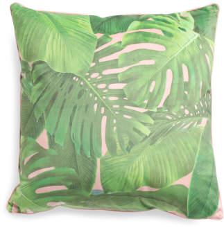 20x20 Velvet Tropical Leaves Pillow