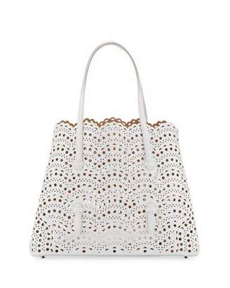 ALAIA Classic Mini Perforated Leather Tote Bag, White $2,530 thestylecure.com