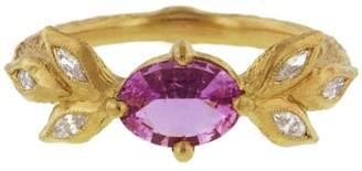 Cathy Waterman Pink Sapphire Marquise Leaf Ring - Yellow Gold