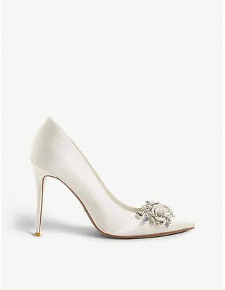 Dune Brydee embellished satin pointed-toe court shoes