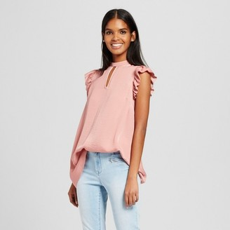 Mossimo Women's High Neck Ruffle Sleeve Tank Top - Mossimo $19.99 thestylecure.com