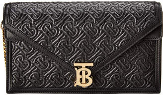 Burberry Tb Small Monogram Leather Envelope Clutch
