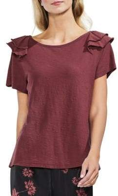 Vince Camuto Tiered Ruffle-Shoulder Cotton Tee