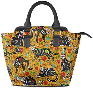DAY Birger et Mikkelsen ALAZA of the Dead Sugar Skull Black Cats Tote Bag Top-Handle Handbags with Strap Small
