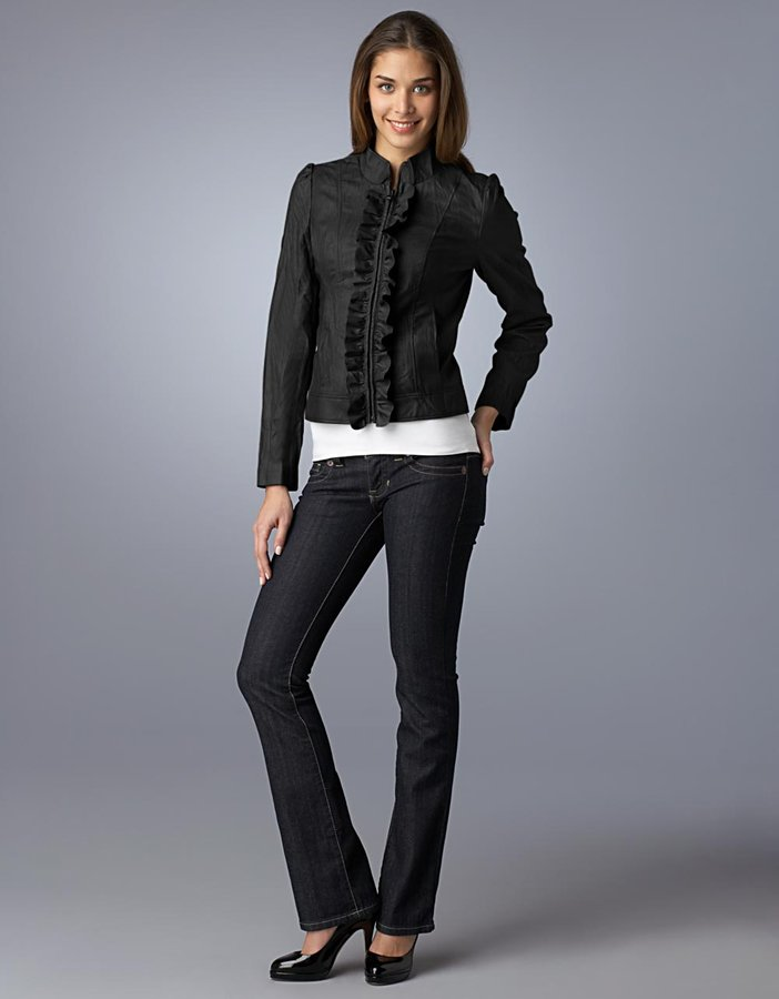 Guess Faux-Leather Zip-Up Ruffled Jacket