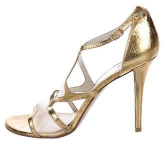 Stuart Weitzman Metallic Ankle-Strap Sandals