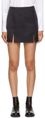 ALEXACHUNG Navy Side Split Miniskirt
