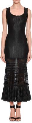 Alexander McQueen Sleeveless Lace-Skirt Long Dress