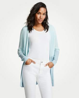 Ann Taylor Colorblock Ribbed Open Cardigan