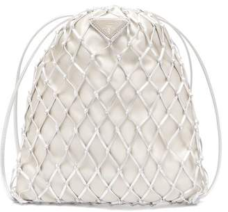 Prada Woven Metallic Leather And Satin Pouch - Womens - Silver