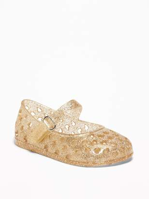 Old Navy Perforated-Heart Jelly Mary-Jane Flats for Baby