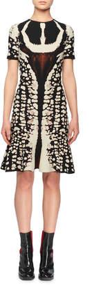 Alexander McQueen Crewneck Short-Sleeve Abstract Bug-Jacquard Flared Knit Dress