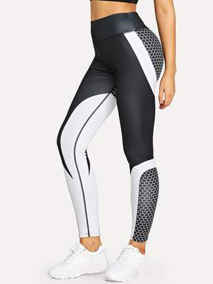 Shein Colorblock Geo Print Skinny Leggings