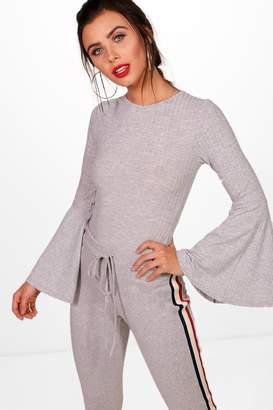 boohoo Petite Flared Sleeve Rib Knit Bodysuit