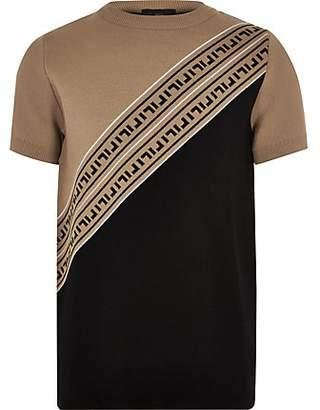 a0fc3e37560 River Island Boys Brown RI knitted T-shirt