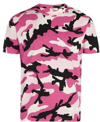 Valentino Camouflage Print Cotton Jersey T Shirt - Mens - Pink