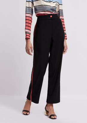 Emporio Armani Pants In Cady Fabric With Side Insert With Zipper