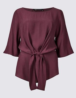 Marks and Spencer Tie Front Round Neck 3/4 Sleeve Blouse