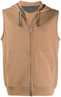drawstring zipped gilet