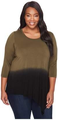 Karen Kane Plus Plus Size Angled Hem Dip-Dye Top Women's Clothing